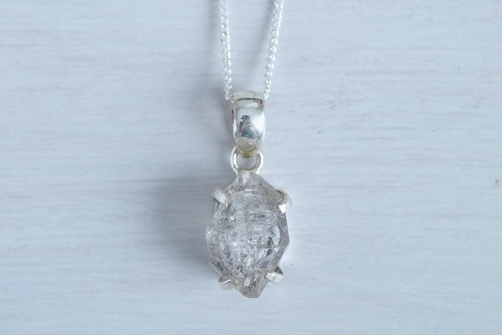 Herkimer diamond claw necklace