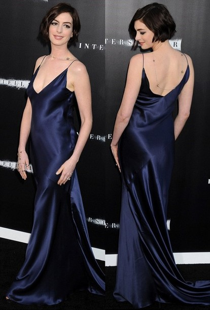 Dress: gown- silk- dark blue- navy- anne hathaway- slip satin ...