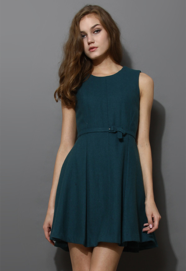 dress belted sleeveless pleated turqoise