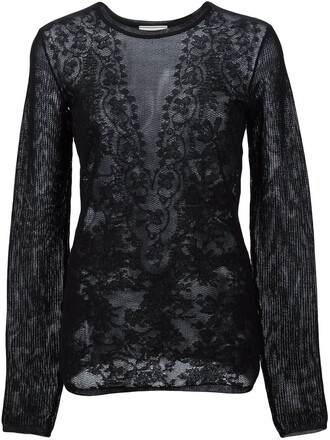 top knitted top jacquard lace black