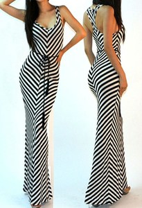 White Striped Racerback Jersey Knit Full Length Long Maxi Sun ...