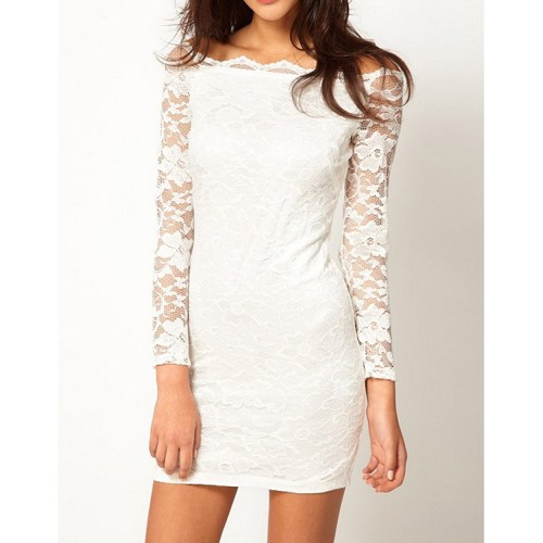 White Lace Bodycon Long Sleeve Dress | NiceStyle - Clothing on ArtFire