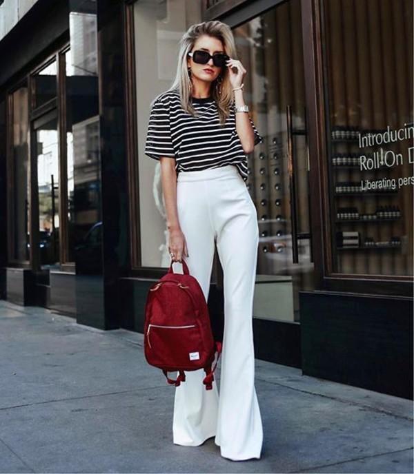 pants white pants sunglasses bag wide-leg pants t-shirt white t-shirt stripes striped t-shirt striped top