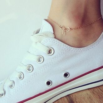 shoes white low tops converse anklet gold bow jewels