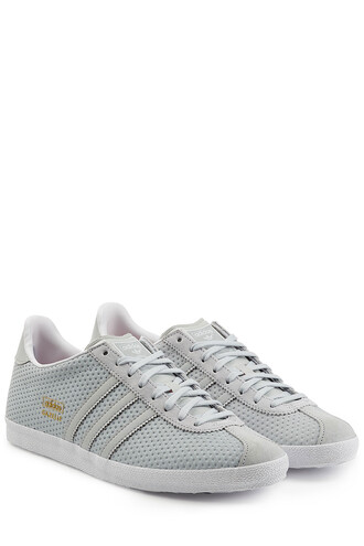 mesh sneakers leather grey shoes