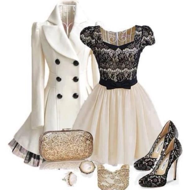 Coat White Coat Dress Black Lace Pea Coat Shoes Dress White And Black Dress Black Lace