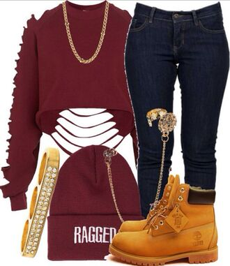 sweater ragged timberlands gold jeans hat shorts shoes shirt red ripped long sleeves jewels top burgundy cut out sleeves  and back crop top redshirt jacket hel phone cover timberland boots shoes clothes