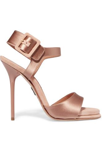 sandals suede satin rose shoes