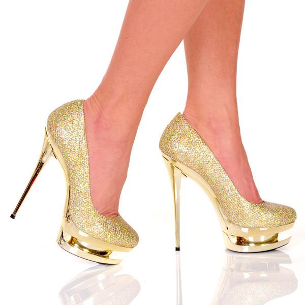 Gold Woven Glitter Pump | Yallure