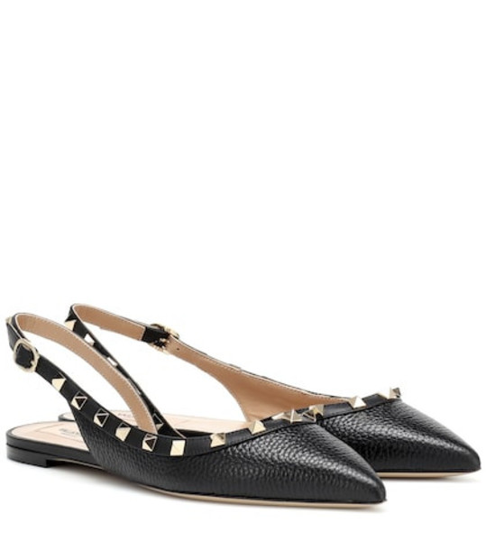 Valentino Garavani Rockstud leather slingback ballet flats in black