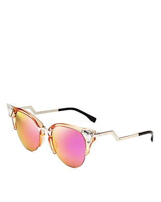 Fendi Crystal Embellished Mirrored Cat Eye Sunglasses | Bloomingdale's