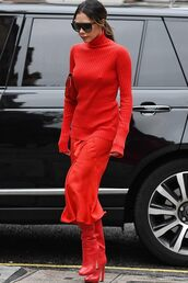 top,midi skirt,red,red boots,victoria beckham,fall outfits,celebrity