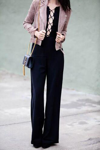 jumpsuit lace up jumpsuit ysl black jumpsuit shoulder bag ysl bag crossbody bag blush jacket suede jacket plunge v neck