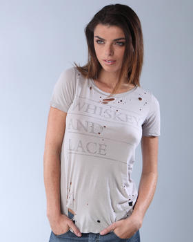 Whiskey and lace chaser destroyed slouchy tee