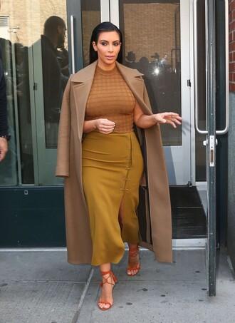 coat skirt top midi skirt slit skirt kim kardashian shoes