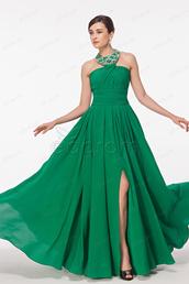 dress,emerald green,halter neck,slit,beaded,long,prom dress,evening dress,bridesmaid,formal dress,gown,pageant dresses,long prom dress,chiffon