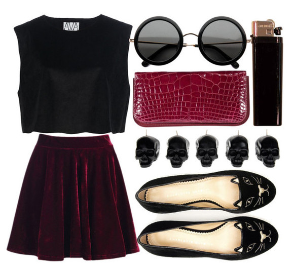 skirt velvet skirt red velvet velvet cats skull crop tops snake print burgundy round sunglasses shoes bag