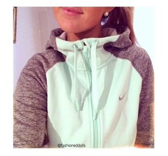 sweater nike hoodie mint grey