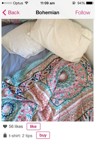 t-shirt bohemian duvet quilt bedding bedroom comfy sleep pattern