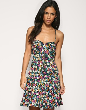 French connection zip front floral mini dress at asos