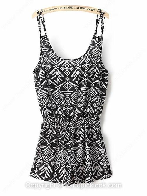 Black and White Spaghetti Strap Geometric Print Loose Jumpsuit - HandpickLook.com