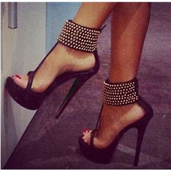 $ 68.89 fashionable black suede ankle strap high heel shoes with amazaing rhinestone