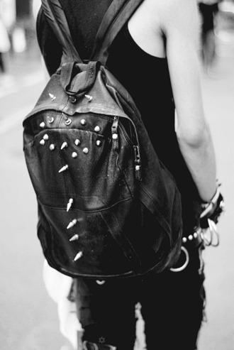 bag black bag spikes punk