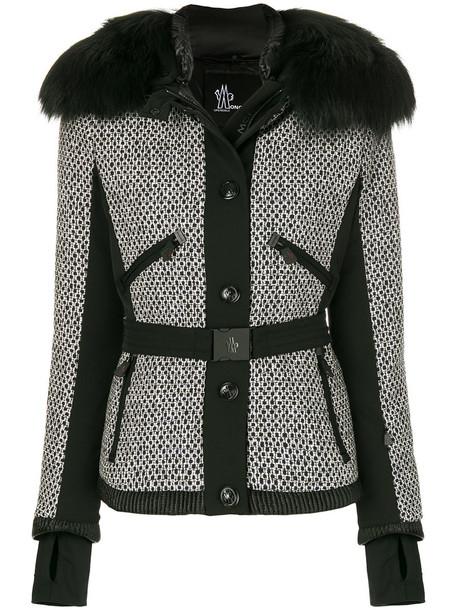 MONCLER GRENOBLE jacket fur fox women cotton black wool