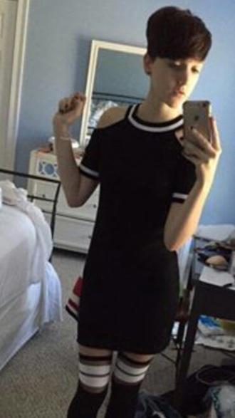 dress black dress holes white stripes