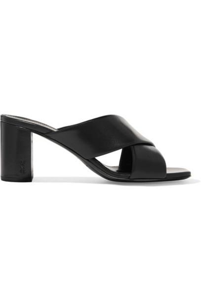 Saint Laurent mules leather black shoes