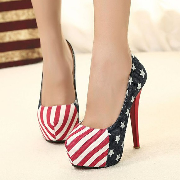 usa flag american flag july4th shoes high heels stilettos july 4th