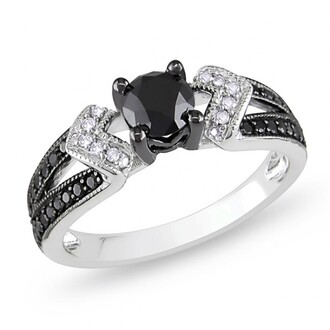 jewels engagement ring black diamond engagement ring lady's amazing black round cut diamond engagement ring in 14k white gold plated silver silver engagement ring evolees.com
