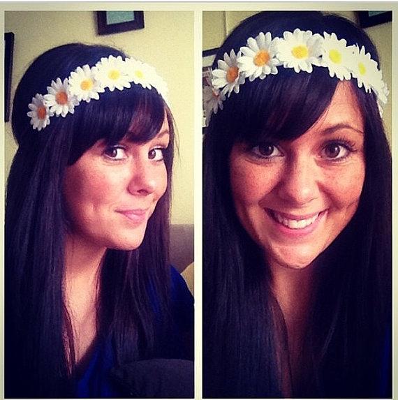 Daisy flower headband floral crown flower halo festival accessory daisy crown daisy halo bohemian headpiece gypsy coachella daisy headband