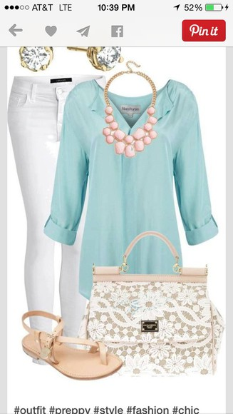 baby blue blouse turquoise sheer quarter sleeve
