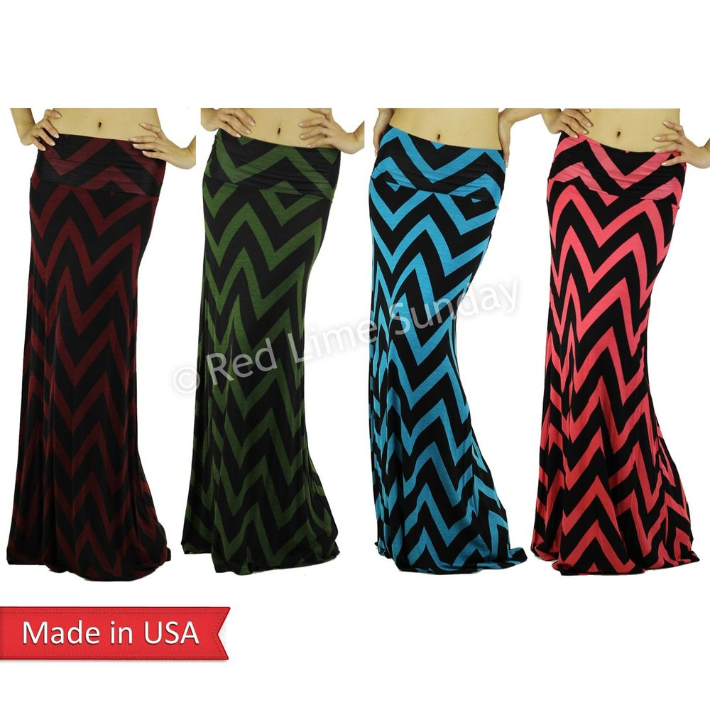 Hot Fashion Trend New Chevron Zigzag Stripe Color Fold Over Long Maxi Skirt USA