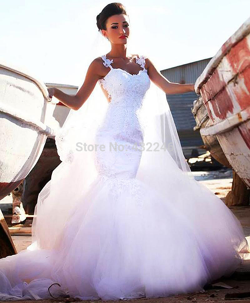 Buy sw260 2014 mhamud mermaid bridal gown for Aliexpress mermaid wedding dresses
