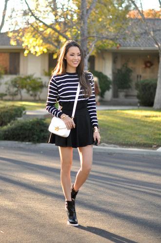 hapa time blogger bag skater skirt wedge sneakers striped sweater