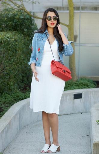 gumboot glam blogger jacket dress bag sunglasses red bag chanel bag denim jacket white dress mules spring outfits