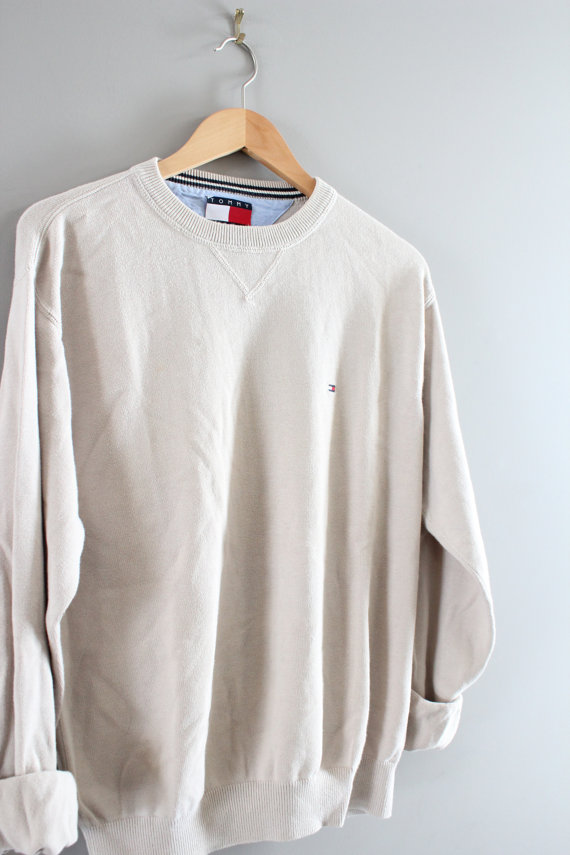 Hilfiger Sweater Beige Cotton Sweater Oatmeal Pullover Slouchy ...