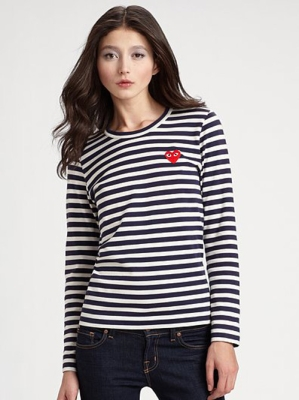 New Comme Des Garcons CDG Play Women Long Sleeve T Shirt Tee Navy Stripes S | eBay