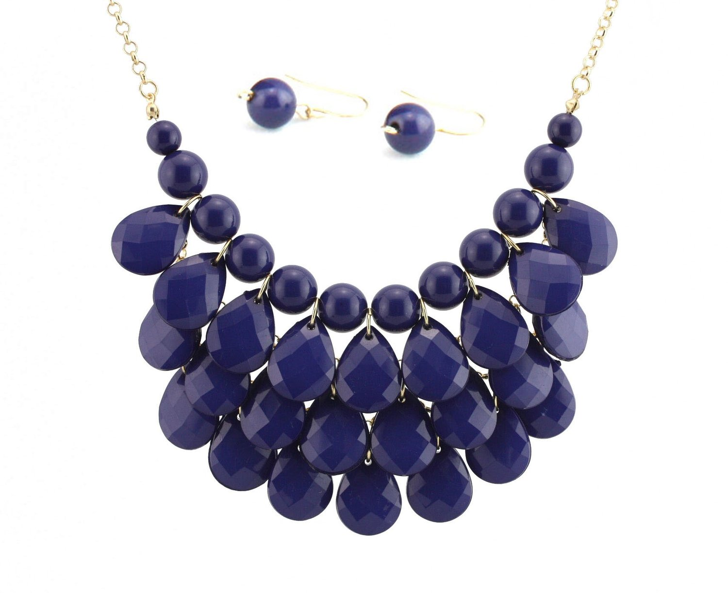 Amazon.com: Bib Bubble Statement Necklace & Earrings Jewelry Set Inspired. - Fashion Jewelry - Navy Blue: Necklaces Gold For Women Blue: Jewelry