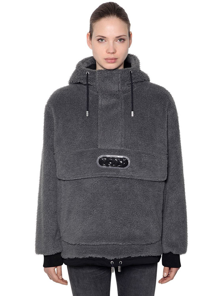 GCDS Hooded Faux Fur Anorak W/ Logo Patch in black