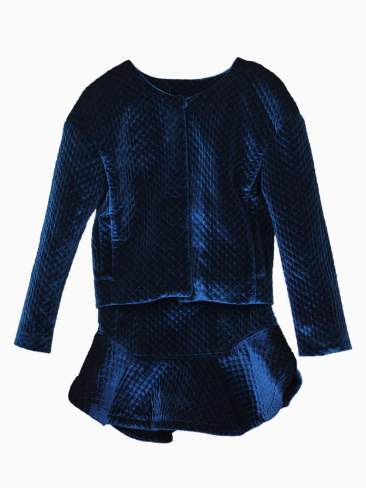 Velvet quilted jacket and ruffled skirt in blue