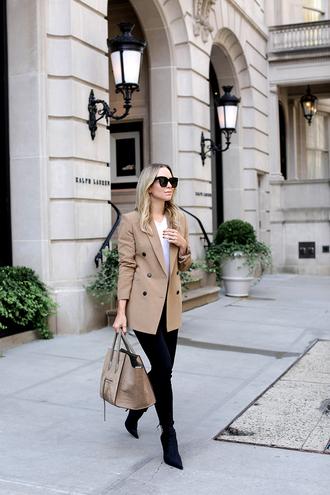 jacket blazer brown blazer pants black pants heel boots boots bag large bag sunglasses white top