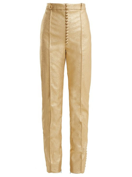 Hillier Bartley - Glam Metallic Faux Leather Trousers - Womens - Gold