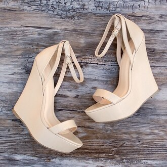 shoes wedges springs spring summer holidays nude high heels beige tan gojane