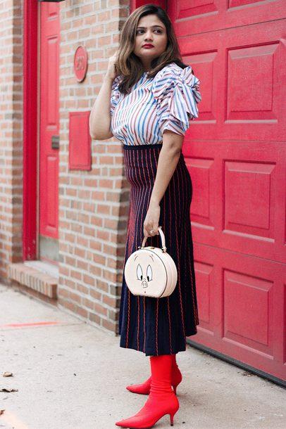 3e821a3197 skirt, midi skirt, knit skirt, striped blouse, ruffle sleeves, mini ...
