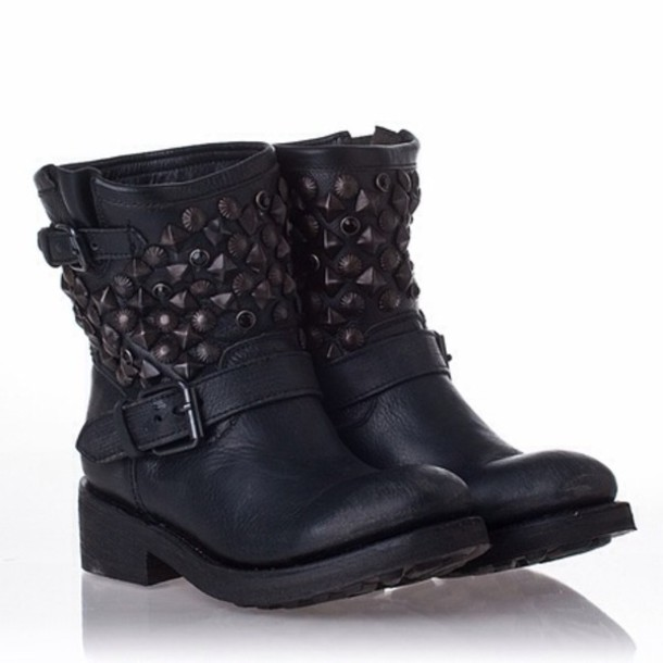 Shoes: combat boots, boots, black, short boots, cute - Wheretoget