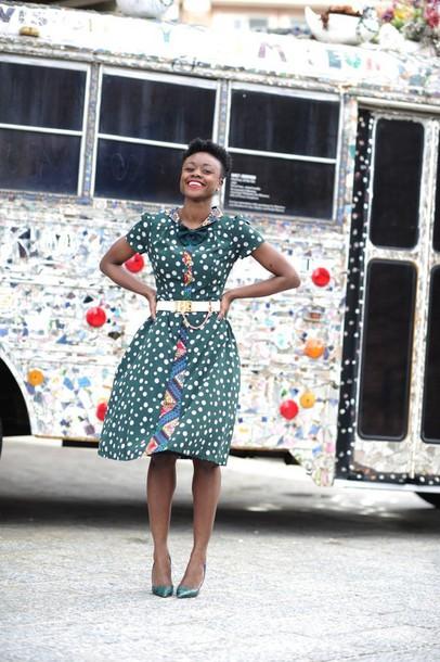 skinny hipster blogger print belted dress