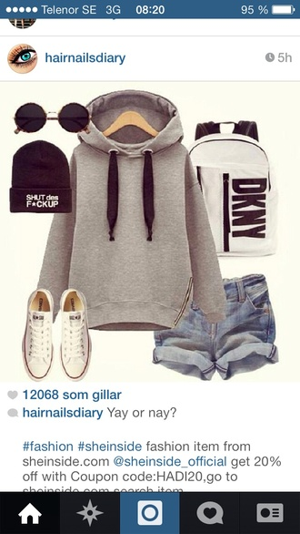 sweater grey hoodie bag hoodie bookbag backpack hat sunglasses shorts zip